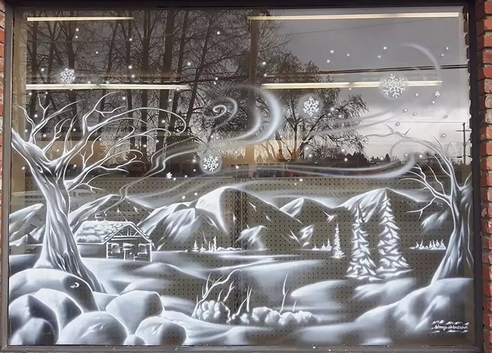 Трафареты на окна к новому году 2021