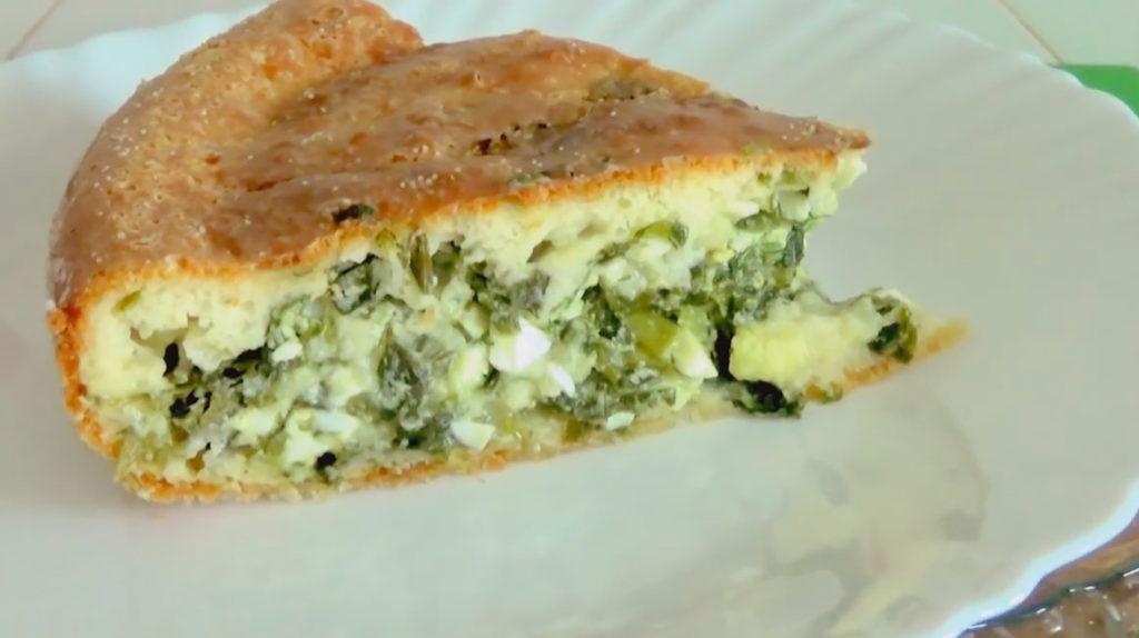 пирог с луком и яйцом на кефире в духовке